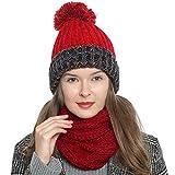 DonDon Bufanda de invierno tipo cuello suave y cálida para mujer con diseño de punto - Rojo oscuro