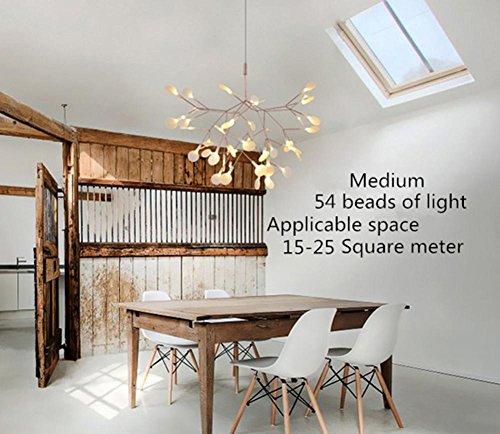 FWEF Lampadario LED crisantemo Firefly Metal lampadario bianco foglia lente Firefly rami lampadario Lampade Restaurant Cafe Bar . 125*30cm round 162