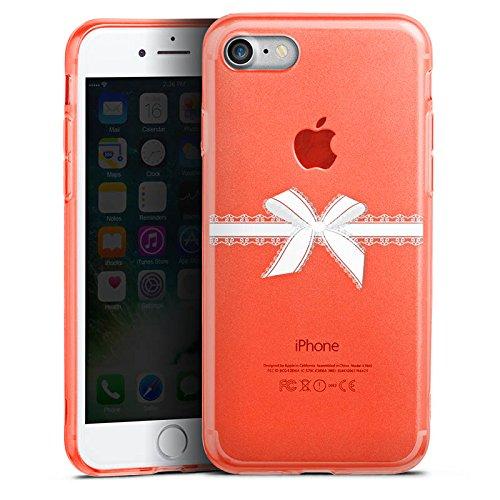 Apple iPhone 8 Silikon Hülle Case Schutzhülle Schleife ohne Hintergrund Spitzen Silikon Colour Case neon-orange