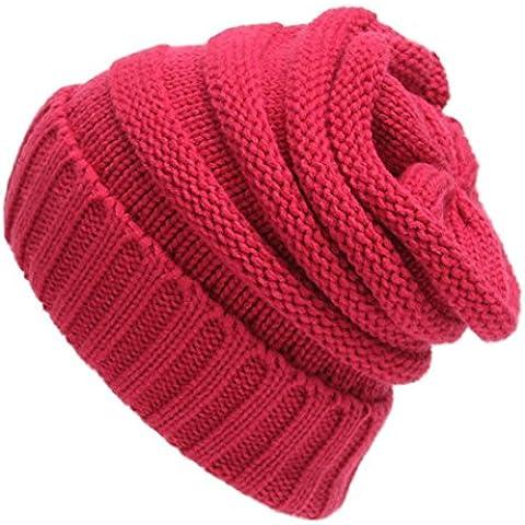 Koly Cap Hop unisex Slouchy Tejer Beanie cadera caliente del invierno del sombrero del esquí (rosa fuerte)