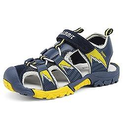 Sommer Geschlossene Sandalen Jungen Outdoor Sports Trekking Schuhe Atmungsaktiv rutschfest Unisex-Kinder Strand Schuhe Weich Sohle Breathable Dunkelblau Gr.26