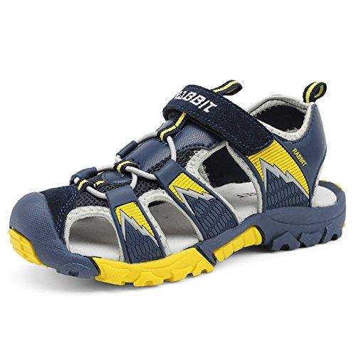 Chiusi Sandali Sportivi Estivi per Bambini e Ragazzi Scarpe da Trekking da Camminata Sandaletti Bimba All'aperto,Blu Scuro 25