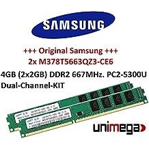 Samsung Original Dual Channel kit 2x 2GB = 4GB 240pin DDR2–667DIMM (667MHz, PC2–5300) M378T5663QZ3-CF7CE6Double Side para sistemas DDR2PC Computer