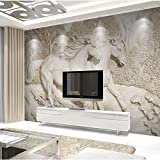 XZCWWH Personalizzato Wall Cloth 3D Stereoscopico White Horse Photo Wallpaper Soggiorno Tv Camera Home Decor Rivestimenti Murali In Rilievo,350cm(W)×256cm(H)
