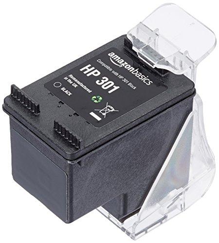 Amazonbasics - cartuccia rigenerata di inchiostro per hp 301, nero