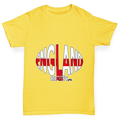 TWISTED ENVY Girl 's England Rugby Ball Flagge Funny Baumwolle T-Shirt Gr. Medium, Gelb