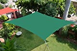 HIPPO Shade Sail Green 9.5X10 FT with Attached SS Hook and 90% Sun Blockage