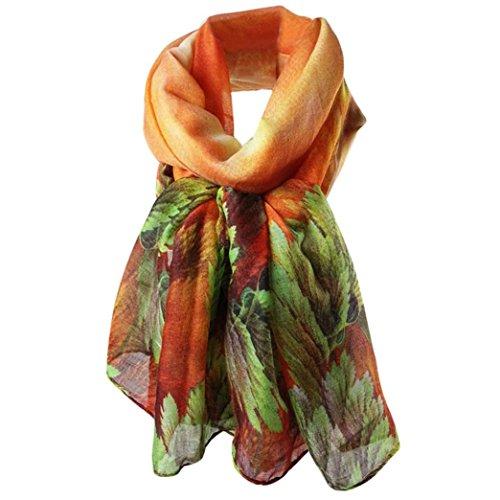 Rcool Seide Schals und Wraps Grafik Print 100% Paris Garn Luxus lange Infinity Lightweight Pattern (Korallenblätter(Orange)) (Wrap Abend)
