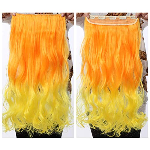 Grüner Salon Mädchen Kostüm - Haarteil No Shining No Gap Unsichtbare Lange Gewellte Synthetische Perücken 1 Stück 5 Clips Clip in Haarverlängerungen für Frauen Mädchen 22 Zoll,Orange