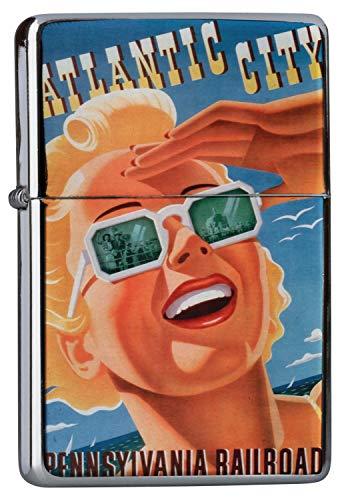 Chrom Sturm Feuerzeug Benzinfeuerzeug aus Metall Aufladbar Winddicht für Küche Grill Zigaretten Kerzen Bedruckt Weltenbummler Atlantic City Pennsylvania Zugroute blonde Frau Sonnenbrille