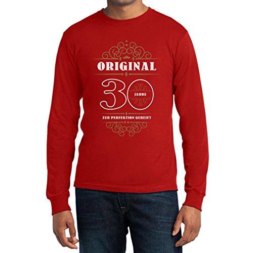 Geburtstag 30 Jahre Original Perfektion Gereift Geschenk Langarm T-Shirt Rot