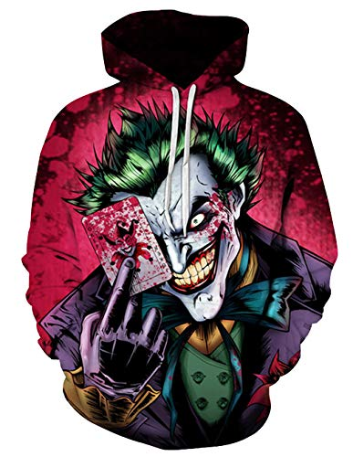 Siennaa Herren Kapuzenpullover Unisex Clown 3D Druck Hoodie Jungen Joker Poker Gedruckt Pullover Männer Horror Skull Pulli Damen Halloween Sweatshirt Kapuzenpulli Oberteile Langarmshirts (Farbe, L)