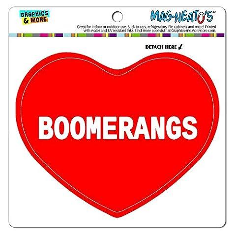 mag-neato' S Panneau de signalisation voiture (TM) aimant de réfrigérateur en vinyle Cœur I Love Sports Loisirs/, Boomerangs