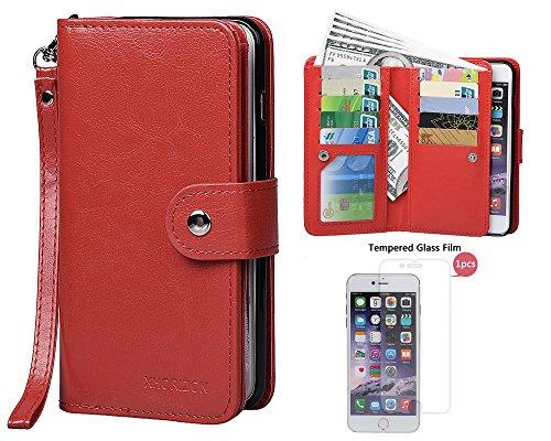 """xhorizon MLK [upgrade] 2-en-1 design Support de voiture remarquable pour téléphone portable à deux volets Folio Portefeuille en cuir pour iPhone 6/ iPhone 6S [4.7""""] (noir) rouge +9H Glass Tempered Film"""