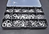 460 Rondelle piatteassortite A2–70,in acciaio INOX, M3, M4, M5, M6e M8, forma A