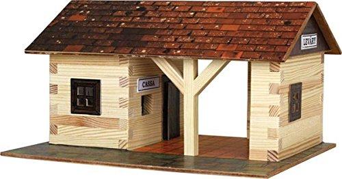 Walachia 8594036430112 - Bahnhof Holz Modellbauset, Modellbahn Spur 1/ LGB 1:32 (Holz-bahnhof)