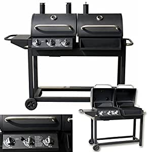 2in1 duo smoker gasgrill barbecue bbq gas grillwagen grill. Black Bedroom Furniture Sets. Home Design Ideas