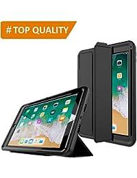 PROTECK Coque iPad Air 2, Etui avec【Film de Protection Intégré】+【Mise en Veille Automatique】+【Antichoc】- Noire