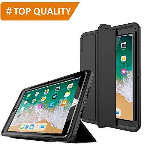 PROTECK Coque iPad Air 2, Etui avec【Film de Protection Intégré】+【Mise en Veille Automatique】+【Antichoc】- Noir