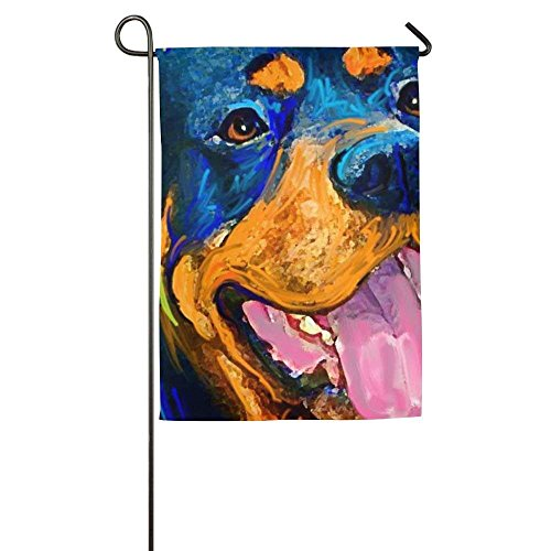 momnn Fluttering Rottweiler Dog Animal Winter Lawn Yard House Garden Flags Semi Transparent Polyester Fiber Banners 12x18 inches -