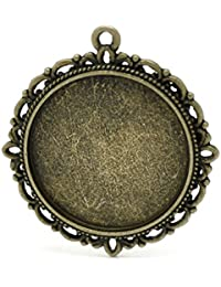 Housweety 10 Pendentifs/Supports de camee Rond Bronze 3.7x3.4cm (pr camee 25mm Dia.)