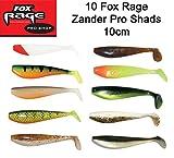 10 Fox Rage Zander Pro Shads Set 10cm - Raubfischköder, Kunstköder für Zander und Barsch, Hechtköder, Zanderköder, Spinnfischen, Gummifisch Set, Köderset