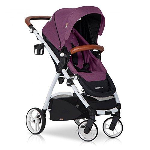 easyGO Buggy Sport Kinderwagen OPTIMO Purple mit Liegefunktion - zusammenklappbar - Alu und Leder - Baby ab 6. Monate