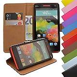 EximMobile - Book Case Handyhülle für Wiko Rainbow Jam mit Kartenfächer | Schutzhülle aus Kunstleder | Handytasche als Flip Case | Cover in Schwarz | Handy Tasche | Etui Hülle Kunstledertasche