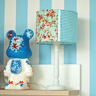 Kinderzimmer-Tischlampe PAUL, blau, Vichy/Blümchen, 37cm