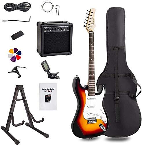 Display4top Kit de guitarra eléctrica Amplificador de 20 vatios, soporte de guitarra, bolsa, púa de guitarra, correa, cuerdas de repuesto,...