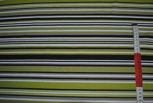 1,5 m * 0,50 m Stoff Jersey Streifen grün hellgrün weiß bunt gestreift T-Shirt (Gestreiften Grün Stoff)