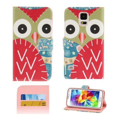 wortek Flip Case Eulen Samsung Galaxy S5 G900 Tasche mit Fach für Karten und Standfunktion Owls Pattern White Colorful 2 Owl Red Colorful