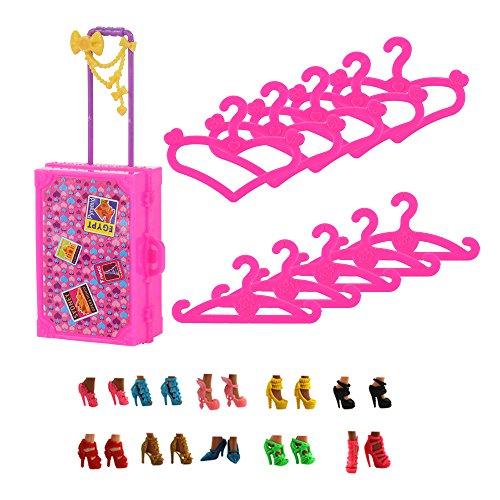 VILLAVIVI 21Stück= 10 Puppenkleiderbügel Kleiderständes+ 10 Paar Schuhe + 1Kofferraum für Barbie Puppen Doll Accessories