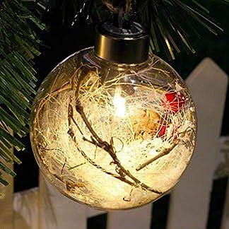 Decoración de Navidad Bola de luz Colgante de árbol de Navidad Adorno colgante para el hogar Luz LED al aire libre Bola de Navidad-Hierba blanca