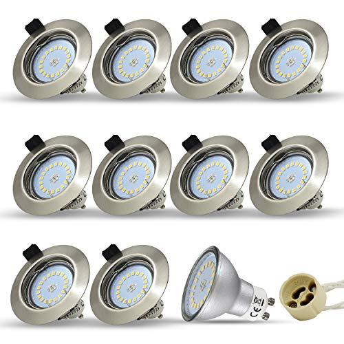 10 Stück Einbaustrahler Set Led GU10 5W 18PCS High Power LEDs Rund fest Einbaurahmen Einbauspots Einbauleuchten Einbaulampen Naturalweiß 4000-4500K 450Lumen Ersetzt 45W -
