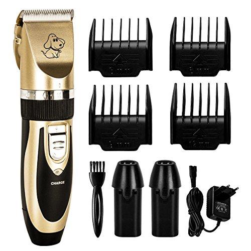 Tierhaarschneider Kit, Fypo Hunde Schermaschine Haarschneider Fellpflege Kit Haarschneidemaschine Kraftvolle Leitung Leise Elektrische Haare Trimmen von 60 Watt mit Akku x2 (1000mA)