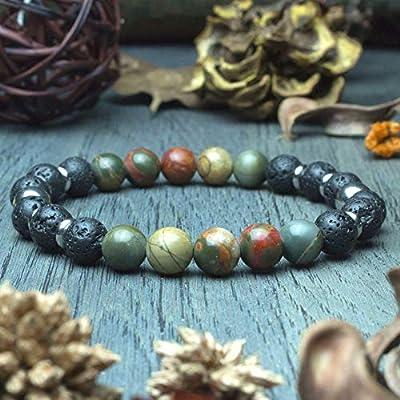 Bracelet Homme/femme Taille 19-20cm perles Ø 8mm en pierre naturelle Jasper Picasso Lave Volcanique Anneaux acier inoxydable fait main création 1000ola BRAP01