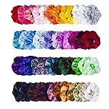 Scrunchies, MOLYHUA 48 Farben Haarbänder Haargummis Samt Elastische Pferdeschwanzhalter Stirnbänder für Frauen Mädchen Haarschmuck, 48 Stück