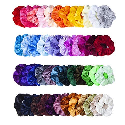 Scrunchies, MOLYHUA 48 Farben Haarbänder Haargummis Samt Elastische Pferdeschwanzhalter Stirnbänder für Frauen Mädchen Haarschmuck, 48 Stück (Krawatte-scrunch)