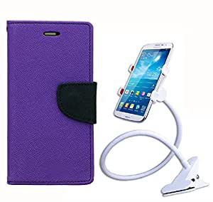 Aart Fancy Diary Card Wallet Flip Case Back Cover For Apple I phone 5 - (Purple) + 360 Rotating Bed Tablet Moblie Phone Holder Universal Car Holder Stand Lazy Bed Desktop for by Aart store.