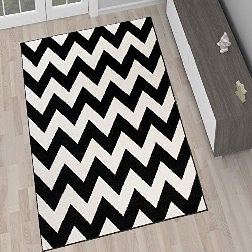 Tapiso Alfombra De Salón Moderna Colección Marroquí – Color Negro Blanco De Diseño Geométrico Zigzag – Mejor Calidad – Diferentes Dimensiones S-XXXL 160 x 220 cm