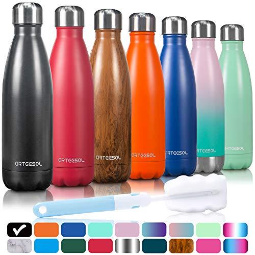arteesol Trinkflasche, 350/500/750 ml Edelstahl Wasserflasche Doppelwandig Vakuumisoliert Water Bottle Schmaler Mund & BPA-frei für Outdoor-Sport Fitness Workout Camp (Mitternachtsschwarz, 750ML)