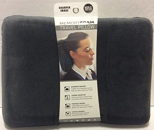 sharper-image-rate-1-memory-foam-travel-pillow-grey-by-sharper-image