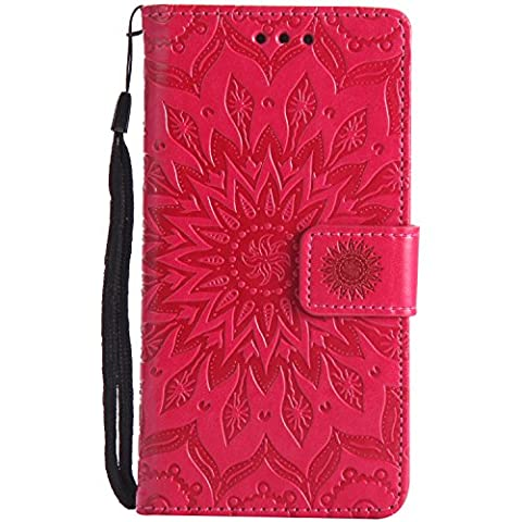 Meet de Sony Xperia M5 (5 pouces) Coque PU Cuir Flip Housse, Soft TPU Protection Etui Souple Case Doux Silicone Bumper Case Cover Case Housse de Protection Etui Portefeuille Bumper Case [série de tournesol] pour Sony Xperia M5 (5 pouces) - rouge