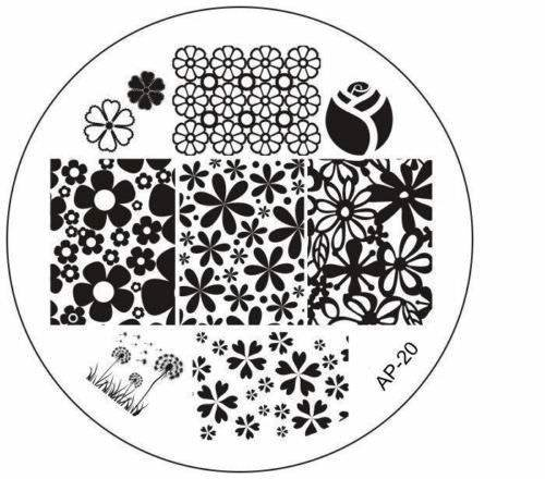 CartoonPrintDesign- Nail Stamping Nagel Schablone Nail Art Nageldesign Blumen Full Cover Motive - AP20 -