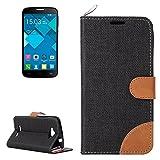 Case For Android Phone Protege tu teléfono, Denim Textura Funda de Cuero con Ranuras para Tarjetas y Soporte y Cinta para Alcatel One Touch Pop C7 (Color : Negro)