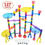 Merryxgift Marble Run - 127Pcs Marble Runs Toy with Colorful Marble Tracks and Glass Marbles, STEM Educational Learning Toy, Marble Race Construction Railway Building Blocks Toy for Boys Girls Gifts