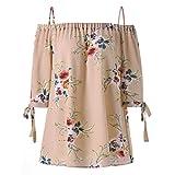 VJGOAL Damen Bluse, Damen Fashion Plus Size Blumendruck Cold Shoulder Bluse Casual Sommer Tops Camis Frau Geschenk (XXXXL, Beige)
