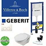 Geberit Duofix Vorwandelement Wand WC-Set + Villeroy&Boch Lotusclean