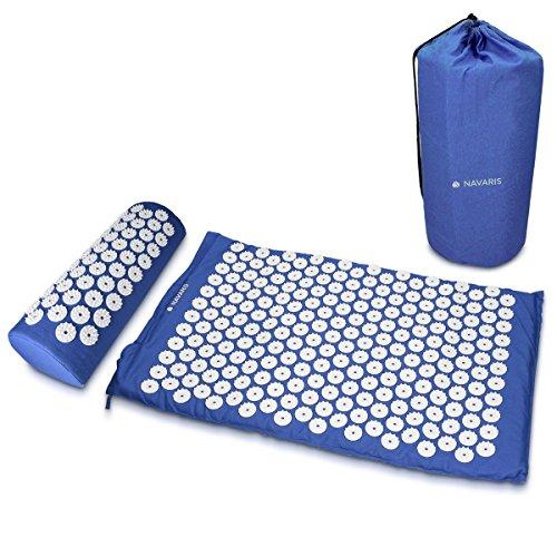 Navaris 2in1 Akupressur Massage Set - 1x Akupressurmatte 1x Kissen mit Tasche - Akupressur Matte und Kopfkissen zur Lösung von Verspannungen - Blau -